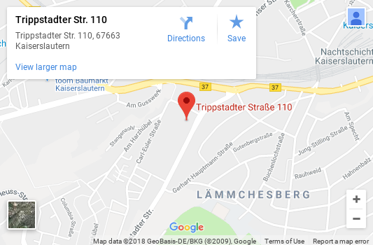 Map of the location of Sharp Reflections GmbH in Kaiserslautern, Germany